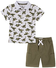 Toddler Boys 2-Piece Dinosaur Print Short Sleeve Polo Shirt and Twill Shorts Set