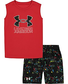 Little Boys Abstract Force Sleeveless Logo Tee and Shorts Set