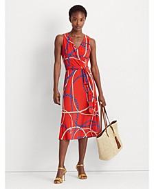 Petite Print Tie-Waist Jersey Dress