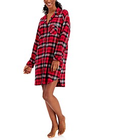 Cotton Plaid Flannel Nightshirt, Created for Macy's