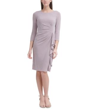 Cascade-Ruffled Metallic Sheath Dress