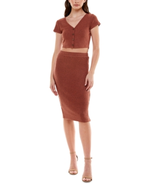 Juniors' Button-Trim 2-Pc. Dress