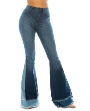 Juniors' Multi-Panel High Rise Flare Jeans