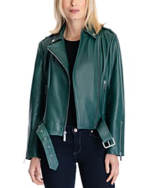 Petite Belted Leather Moto Coat, Created for Macy's