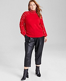 Plus Size Imitation Pearl-Detail Cashmere Sweater, Created for Macy's