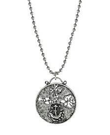 Pewter Christian Medallion with Cross Anchor Dove Necklace