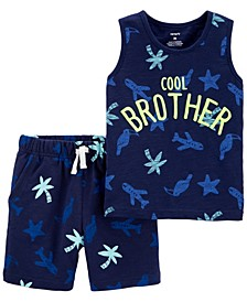Toddler Boys Cool Brother Slob Jersey Tank and Short, 2 Piece Set