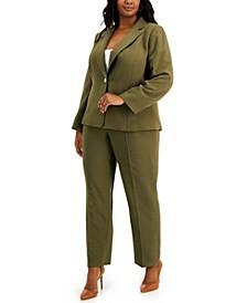 Plus Size One-Button Pant Suit
