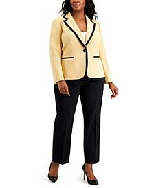 Plus Size One-Button Contrast Pantsuit