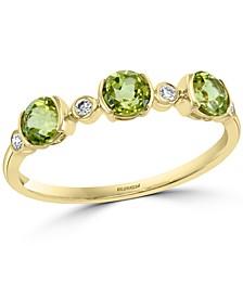 EFFY® Peridot (7/8 ct. t.w.) & Diamond (1/20 ct. t.w.) Ring in 14k Gold
