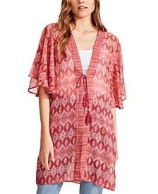 Printed Short Sleeve Kimono