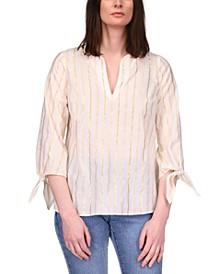 Metallic-Striped Tie-Sleeve Top, Regular & Petite Sizes