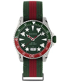 Men's Swiss Dive Red & Green Fabric Strap Watch 40mm