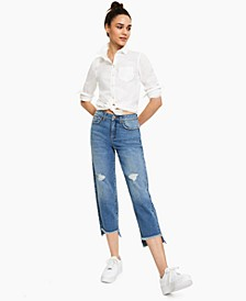 High-Rise Straight Cropped Jean, Created for Macy's