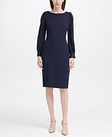 Puff-Shoulder Sheath Dress