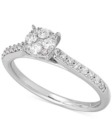 Lab-Created Diamond Cluster Ring (1/3 ct. t.w.) in Sterling Silver