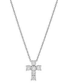 """Lab-Created Diamond Cross Pendant Necklace (1/3 ct. t.w.) in Sterling Silver, 16"""" + 2"""" extender"""