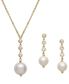 2-Pc. Set Cultured Freshwater Pearl (6 & 10mm) & Cubic Zirconia Bezel Pendant Necklace & Matching Drop Earrings in 18k Gold-Plated Sterling Silver