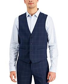 Men's Slim-Fit Blue Windowpane Plaid Suit Vest, Created for Macy's