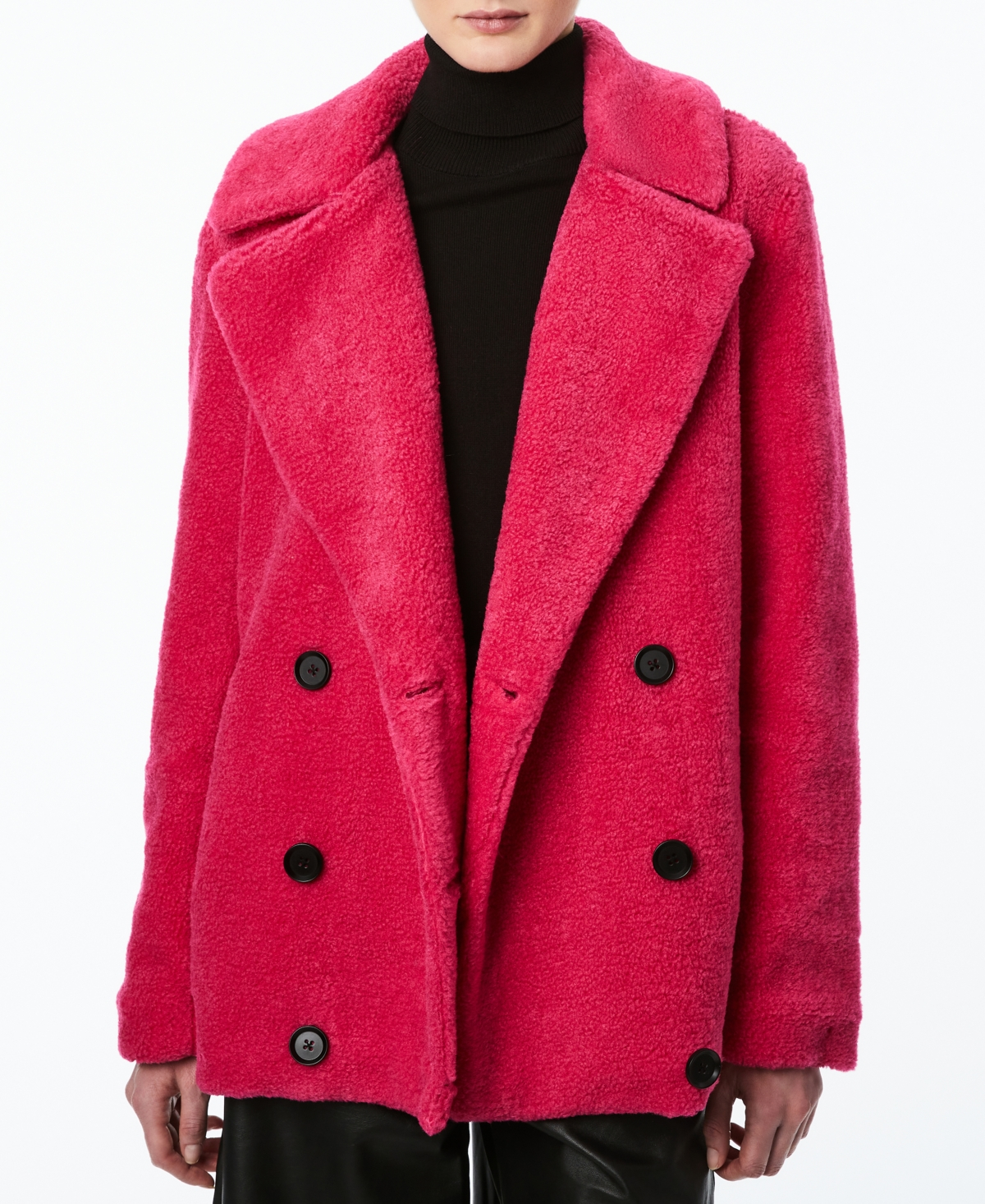 Juniors' Double-Breasted Faux-Fur Teddy Coat