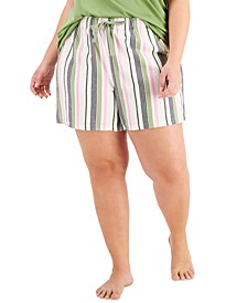 Plus Size Printed Woven Pajama Shorts, Created for Macy's