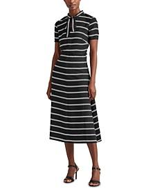 Striped Crepe Dress