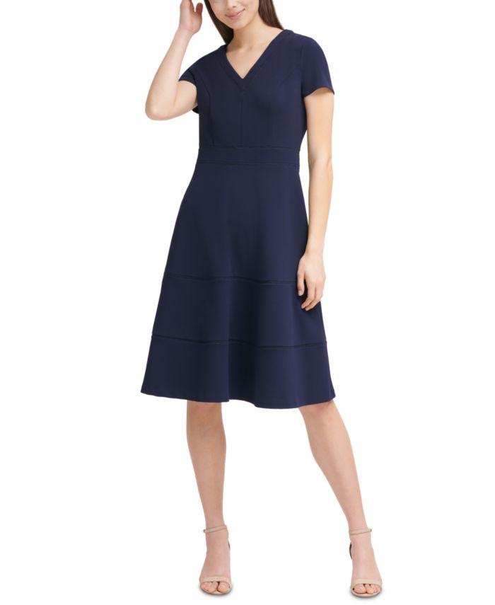 Karl Lagerfeld Paris Solid V-Neck Lace-Inset Fit & Flare Dress & Reviews - Dresses - Women - Macy's