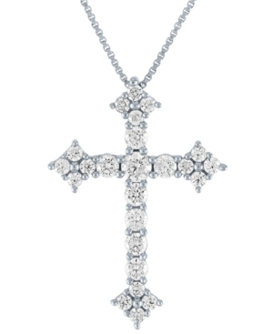 Lab-Created Diamond Cross Pendant Necklace (3/4 ct. t.w.) in Sterling Silver