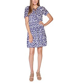 Black Label Petite Printed Burnout Dress with Smocked Waist and Tiered Hem