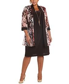 Plus Size Floral-Print Jacket & Necklace Dress