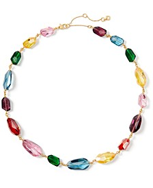 """Gold-Tone Multicolor Crystal Collar Necklace, 19-1/2"""" + 3"""" extender"""