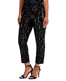 Sequined Velvet Ankle Pants, Created for Macy's