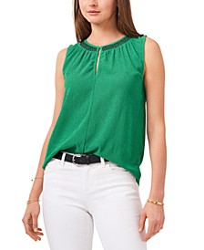 Embroidered Crinkle Top