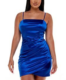 Juniors' Ruched Asymmetric Bodycon Dress