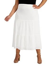 Plus Size Tiered Gauze Midi Skirt
