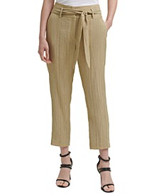 Petite Textured High-Rise Pants