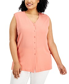 Plus Size Sleeveless Button-Up Top, Created for Macy's