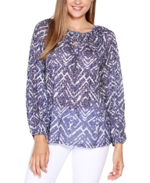 Black Label Printed Burnout Top with Neck Tie and Blouson Sleeve