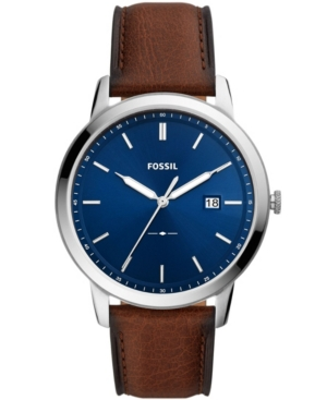 FOSSIL THE MINIMALIST SOLAR-POWERED LUGGAGE LEATHER WATCH, 44MM