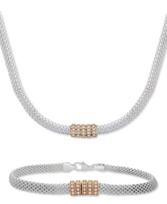 Cubic Zirconia Ring Mesh Link Bracelet in Sterling Silver & Gold-Plate