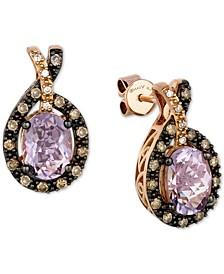 Cotton Candy Amethyst (2-1/5 ct. t.w.) & Diamond (1/3 ct. t.w.) Halo Stud Earrings in 14k Rose Gold