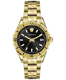 Men's Swiss Hellenyium Gold Ion Plated Bracelet Watch 42mm