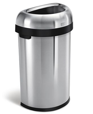 simplehuman brushed stainless steel 60 liter semi round open trash