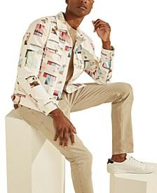 Men's Collage Print Denim Jacket