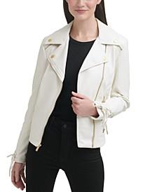 Faux-Leather Asymmetrical Moto Coat
