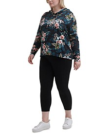 Plus Size Printed Logo Hooded Top