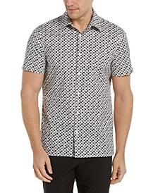 Men's Diamond Geo Print Short Sleeve Stretch Button-Down Shirt