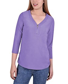 Women's Long Sleeve Crepe Knit V Neck Top with Zipper