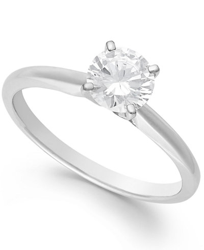 diamond solitaire engagement ring in 14k white gold 1 ct tw - Solitaire Wedding Rings