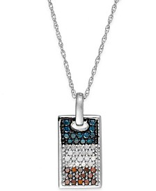 Diamond Flag Dog Tag Pendant Necklace in Sterling Silver (1/2 ct. t.w.)